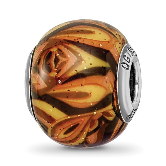 Sterling Silver Reflections Italian Decorative Orange Glass Bead