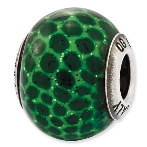 Sterling Silver Reflections Italian Green Glitter Glass Bead