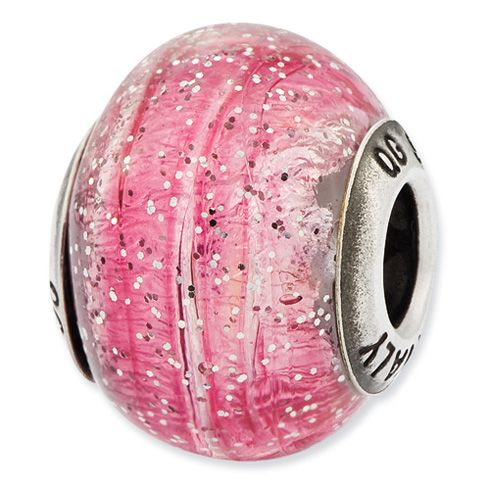 Sterling Silver Reflections Italian Light Pink Silver Glitter Glass Bead