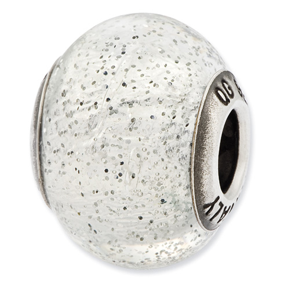 Sterling Silver Reflections Italian Silver Glitter Glass Bead