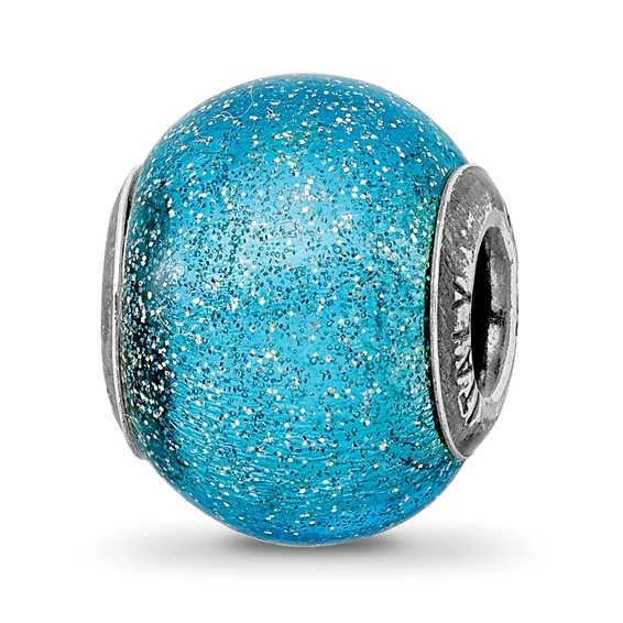 Sterling Silver Reflections Light Blue Silver Glitter Glass Bead