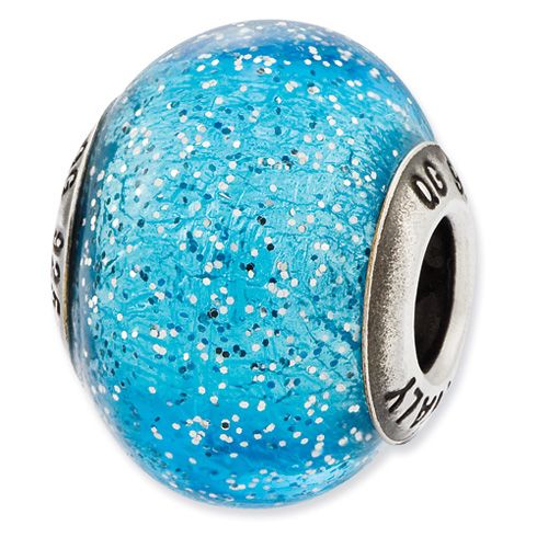 Sterling Silver Reflections Italian Light Blue with Silver Glitter Glass Bead