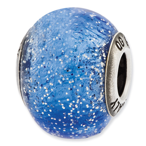 Sterling Silver Reflections Italian Blue with Silver Glitter Glass Bead