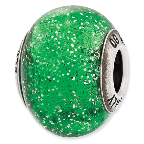 Sterling Silver Reflections Italian Green Silver Glitter Glass Bead