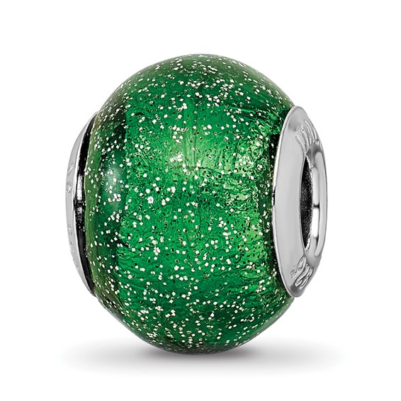 Sterling Silver Reflections Italian Green with Silver Glitter Glass Bead