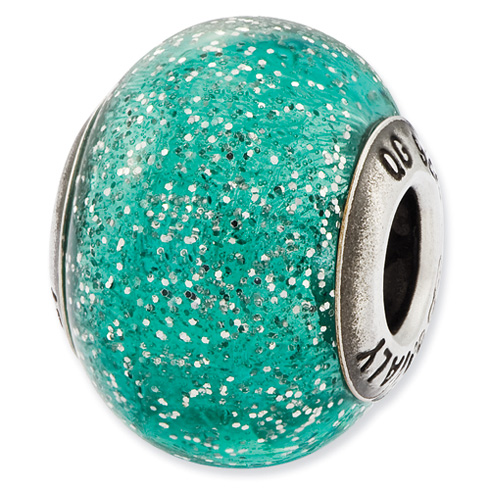 Sterling Silver Reflections Italian Teal Glitter Glass Bead