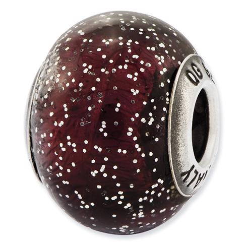 Sterling Silver Reflections Italian Dark Purple with Silver Glitter Glass Bead