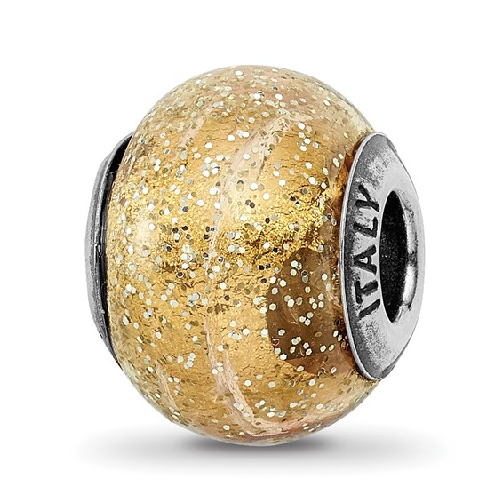 Sterling Silver Reflections Italian Dark Yellow with Glitter Glass Bead