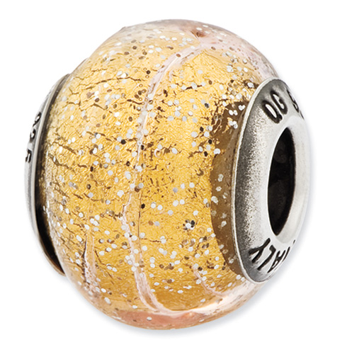 Sterling Silver Reflections Italian Dark Yellow Glitter Glass Bead