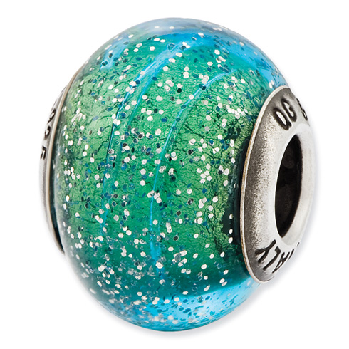 Sterling Silver Reflections Italian Blue and Teal with Silver Glitter Glass Bead