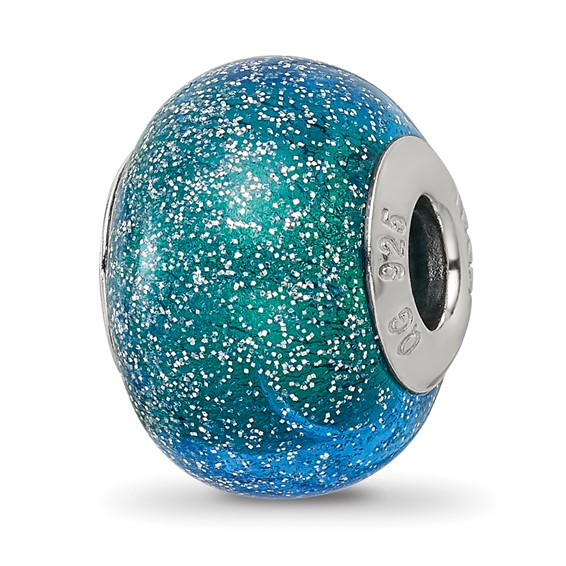 Sterling Silver Reflections Blue Teal Silver Glitter Glass Bead