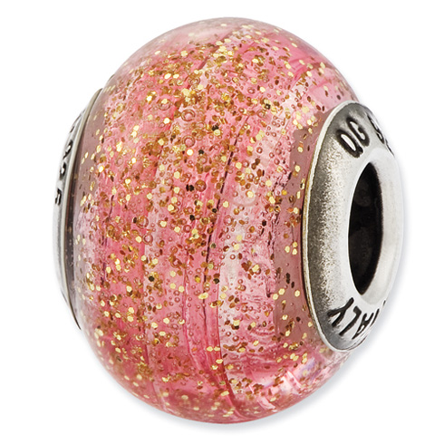 Sterling Silver Reflections Italian Pink with Gold Glitter Glass Bead