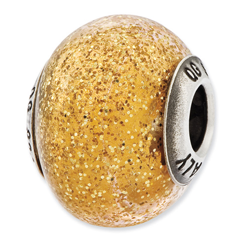 Sterling Silver Reflections Italian Dark Yellow with Gold Glitter Glass Bead