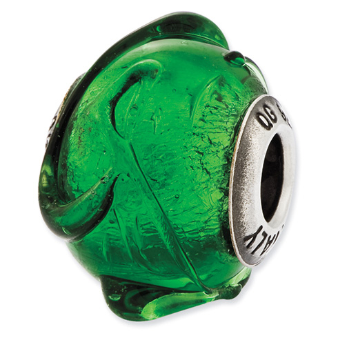 Sterling Silver Reflections Green with Textured Lines Glass Bead