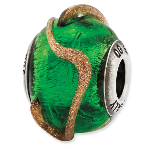 Sterling Silver Reflections Green with Brown Textured Lines Glass Bead