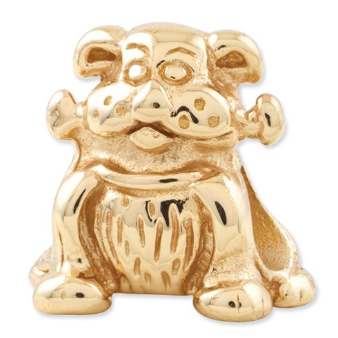 Sterling Silver Gold-plated Reflections Dog with Bone Bead