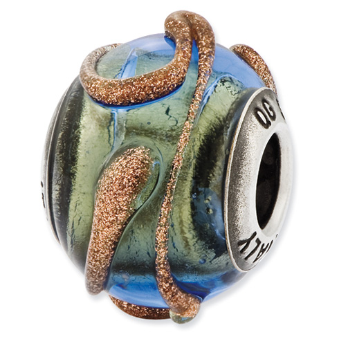 Sterling Silver Reflections Blue Green with Textured Lines Glass Bead