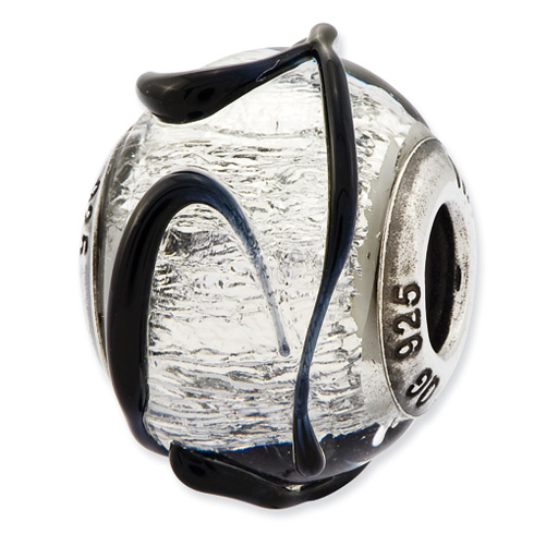 Sterling Silver Reflections Italian Silver with Black Textured Lines Glass Bead