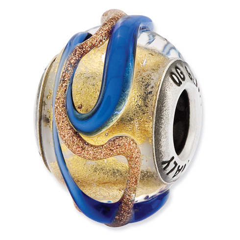 Sterling Silver Reflections Italian Yellow Blue and Brown Textured Lines Glass Bead