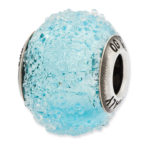 Sterling Silver Reflections Italian Light Blue Textured Glass Bead
