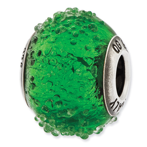 Sterling Silver Reflections Italian Green Textured Glass Bead
