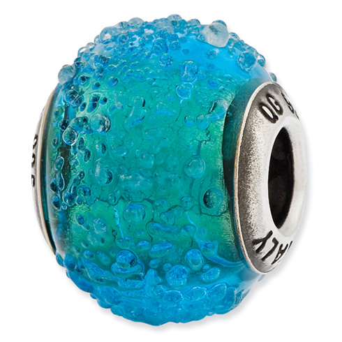 Sterling Silver Reflections Italian Blue and Green Textured Glass Bead