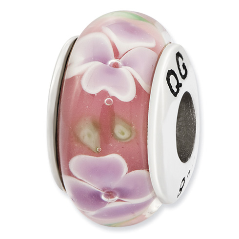 Sterling Silver Reflections Lt Pink with Purple Flower Hand Blown Glass Bead