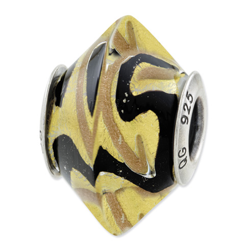 Sterling Silver Reflections Yellow Black Italian Murano Glass Bead