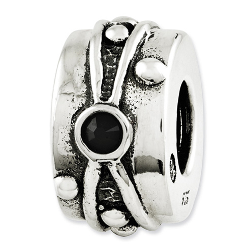 Sterling Silver Reflections Black Swarovski Elements Antiqued Bead