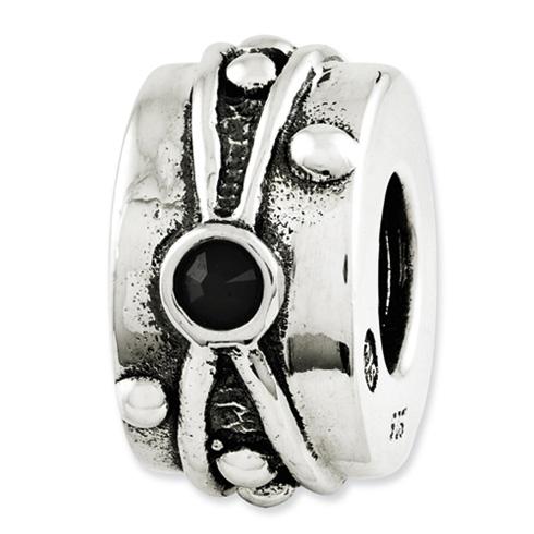 Sterling Silver Reflections Black Swarovski Elements Antiqued Bead