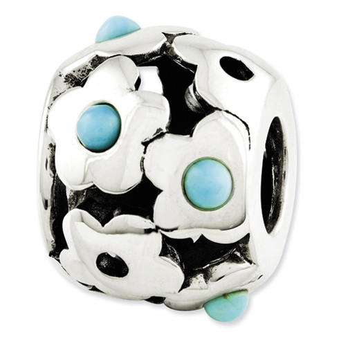 Sterling Silver Reflections Turquoise Flowers Bead