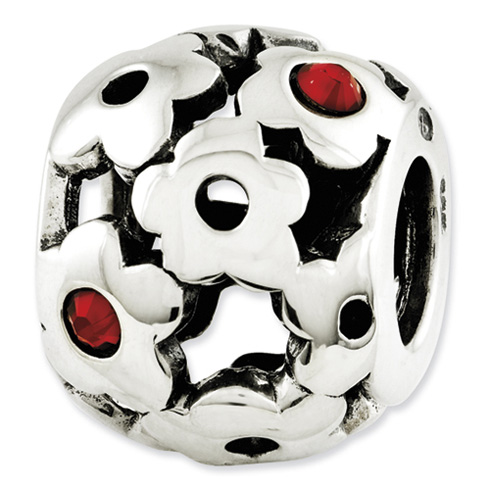 Sterling Silver Reflections Red Swarovski Elements Flowers Bead