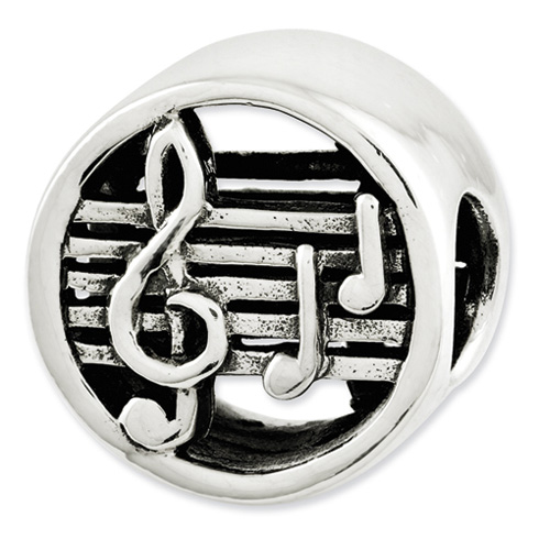 Sterling Silver Reflections Music Notes and Staff Bead