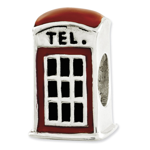 Sterling Silver Reflections Enameled Telephone Booth Bead