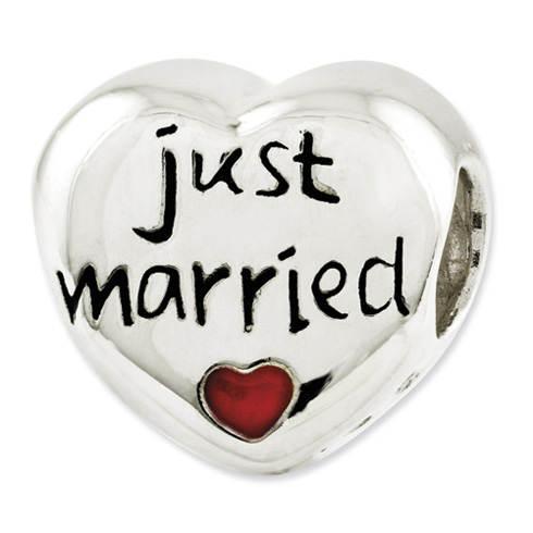Sterling Silver Reflections Enameled Just Married Heart Bead