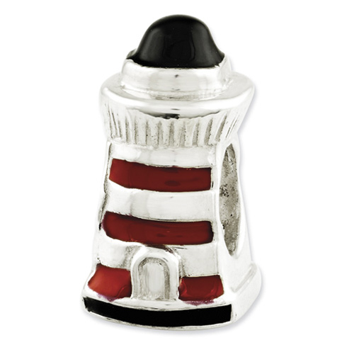 Sterling Silver Reflections Enameled Lighthouse Bead