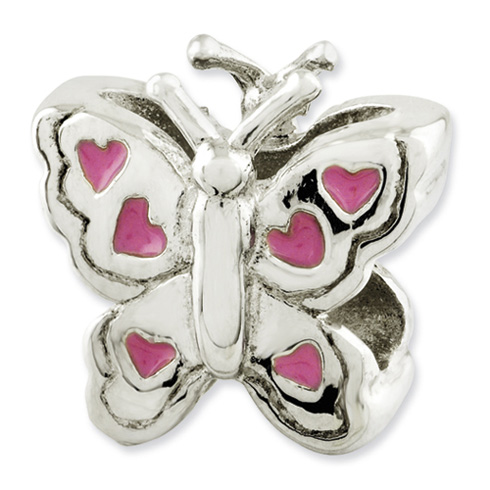 Sterling Silver Reflections Kids Enameled Butterfly Bead