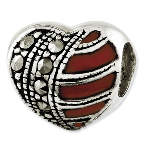 Sterling Silver Reflections Marcasite and Enameled Heart Bead