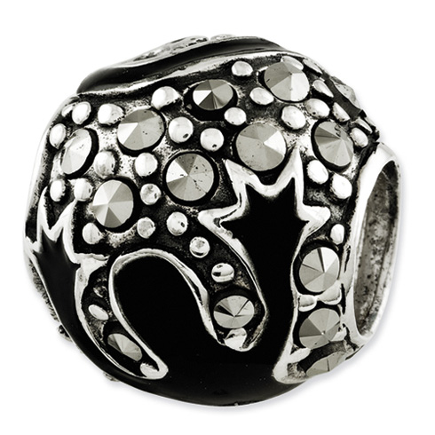Sterling Silver Reflections Marcasite and Black Enameled Bead