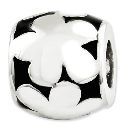 Sterling Silver Reflections Black Enameled Flowers Bead