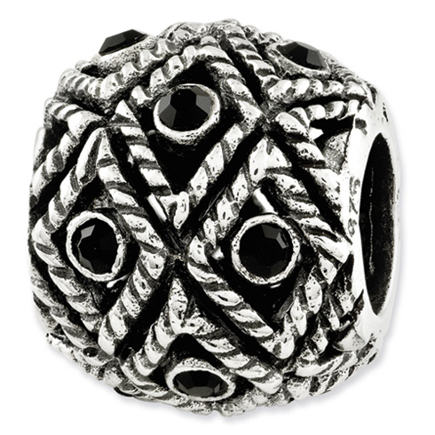 Sterling Silver Reflections Black Swarovski Elements Bead