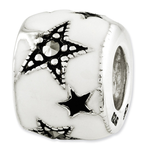 Steling Silver Reflections Enameled and Marcasite Stars Bead