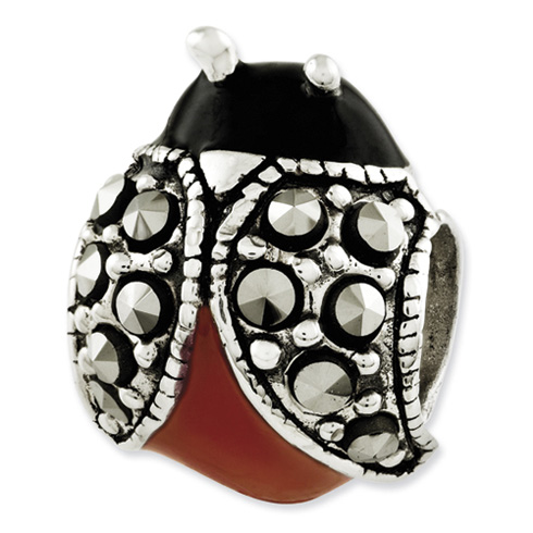 Sterling Silver Reflections Enameled and Marcasite Ladybug Bead