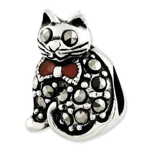 Sterling Silver Reflections Marcasite and Enameled Cat Bead
