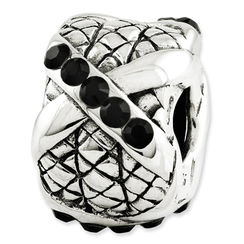 Sterling Silver Reflections Fancy Bali Black Swarovski Elements Bead
