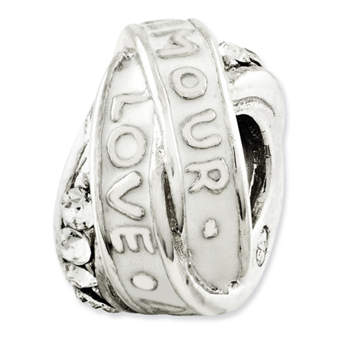Sterling Silver Reflections Love Amour Swarovski Elements Bead