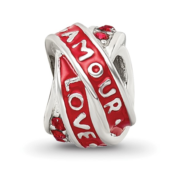 Sterling Silver Reflections Love Amour Red Swarovski Elements Bead