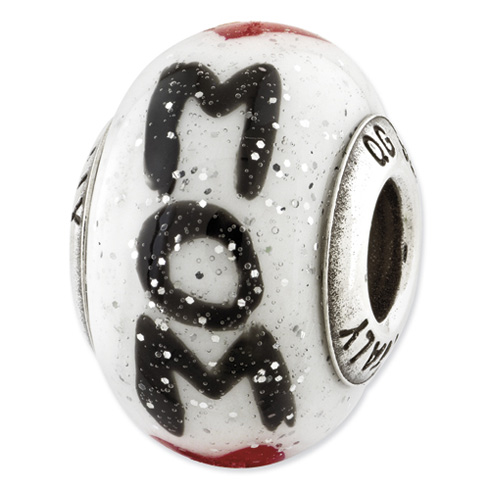 Sterling Silver Reflections Mom with Hearts Italian Glass Bead