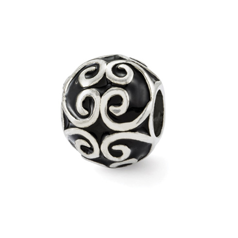Sterling Silver Reflections Black Enamel Bali Bead