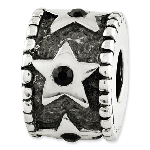 Sterling Silver Reflections Black Swarovski Elements Star Bead